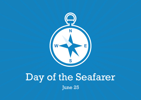 Day of the Seafarer vector. Day of the Seafarer Poster, June 25. Compass icon vector. Compass on a blue background. Important day