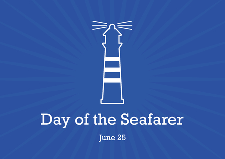Day of the Seafarer vector. Day of the Seafarer Poster, June 25. Beacon icon vector. Nautical lighthouse on blue background. Important day Illustration