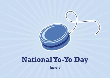 National Yo-Yo Day vector. Yo Yo Toy Vector. Blue Yo-Yo vector. National Yo-Yo Day Poster Ilustração