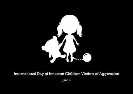 Vector del Día Internacional de los Niños Inocentes Víctimas de Agresión. Ilustración de vector de niños abusados. Niña con vector de silueta de oso. Icono de niña abusada. Dia importante Ilustración de vector
