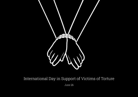 International Day in Victims of Torture Vector. Tied hands vector. Abused people icon. International Day in Victims of Torture Poster, June 26th Important day