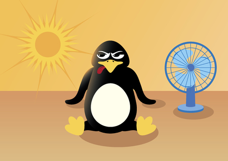 Penguin in summer vector. Angry penguin in hot summer vector illustration. Overheated penguin cartoon character. Penguin in the desert cartoon character