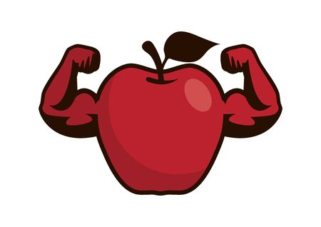 Strong red apple cartoon character. Muscular apple vector. Strong apple isolated on white background. Apple with muscle arms clip art