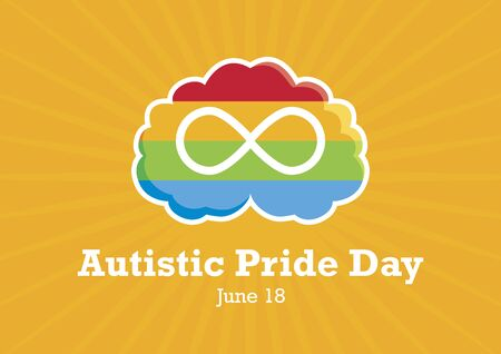 Autistic Pride Day vector. World Autism Day. Rainbow brain with infinity symbol. Important day