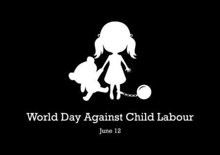 World Day Against Child Labor Vector. Vector Illustration Keywords: Little girl with bear silhouette vector. Abused little girl icon. Important day
