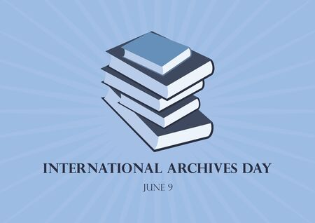 International Archives Day vector. Stack of books vector. Governance, Memory and Heritage Vector Illustration. Important day
