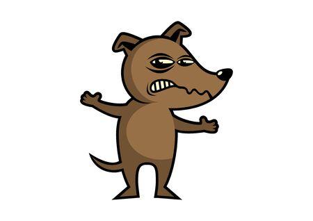 Illustration vectorielle de chien en colère. Icône de chien enragé. Personnage de dessin animé de chien brun. Chien en colère isolé sur fond blanc Vecteurs