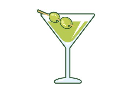 Martini drink with olive vector. Martini glass with olive icon. Glass of martini vector. Olive Martini cartoon 일러스트