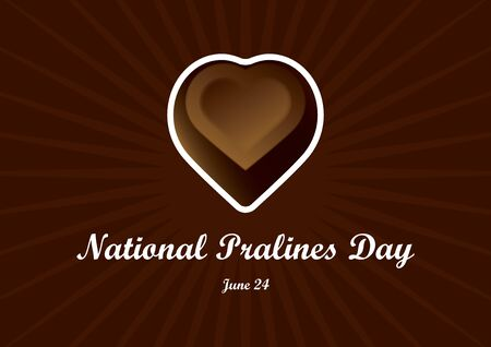 National Pralines Day vector. Chocolate heart praline vector. National Pralines Day Poster, June 24th Important day
