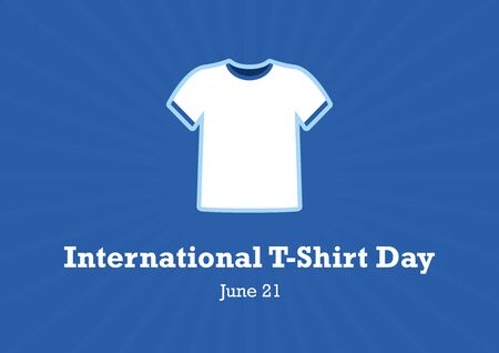 International T-Shirt Day vector. White T-Shirt Isolated on a Blue Background. Men's T-Shirt icon. White t-shirt without print vector. International T-Shirt Day Poster