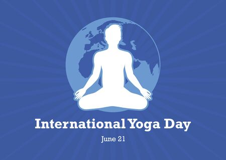 International Day of Yoga vector. Yin Yang Symbol Vector Illustration. Silhouette of man in yoga position. Man in yoga position. International Yoga Day Poster, June 21
