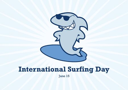 International Surfing Day vector. Surfing shark cartoon character. Shark with surfboard icon. Funny shark with sunglasses vector. Important day 向量圖像