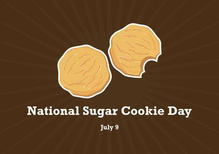National Sugar Cookie Day. Sugar Cookies Vector. Cookies on a brown background. American sweet biscuits. National Sugar Cookie Day Poster