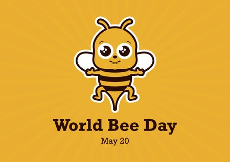 World Bee Day Vector. Bee cartoon character. Cute Bee Vector Illustration. Happy Bee icon. World Bee Day Poster