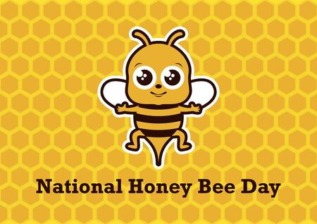 National Honey Bee Day Vector. Bee cartoon character. Cute Bee Vector Illustration. Happy Bee icon. National Honey Bee Day Poster, Saturday, August 17, 2019. Important day