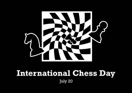 International Chess Day vector. Chessboard Abstract Vector Illustration. Black and white Chess background. Chess figures on a wavy chessboard. International Chess Day Poster, July
