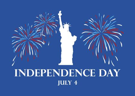 USA Independence Day. Statue of Liberty with fireworks. Vector Illustration Keywords: America Independence Day. United States Independence Day Poster. Important day