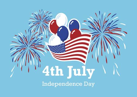 USA Independence Day American Balloons and Fireworks vector. American flag with balloons icon. Fourth of July Festive Vector. America Independence Day. United States Independence Day Poster. Important day 向量圖像