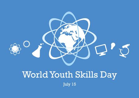 World Youth Skills Day vector. Human abilities illustration. White education icon set. Study simple icons set. Science symbols. World Youth Skills Day Poster, July 15