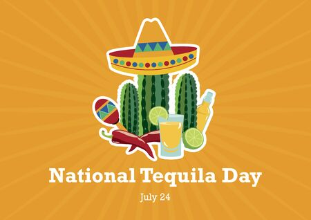 National Tequila Day vector. Mexican design elements vector. Shot of tequila icon. National Tequila Day Poster, July 24th Important day