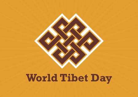 World Tibet Day vector. Endless knot icon vector. Ancient Tibetan symbol. Spiritual symbol of infinity vector. Important day 向量圖像