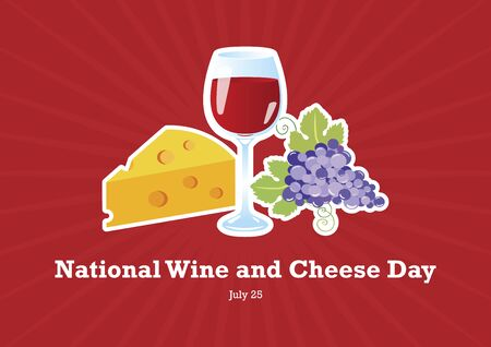 National Wine and Cheese Day vector. Red wine and cheese vector. Still life with wine, grapes and cheese. National Wine and Cheese Day Poster