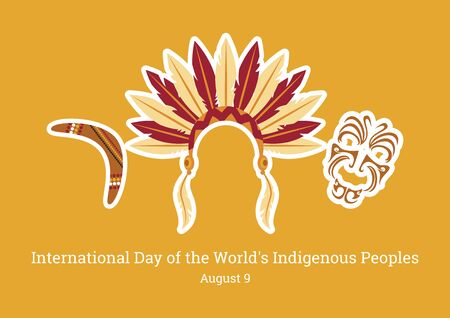International Day of the Worlds Indigenous People Vector. Symbols of indigenous people. Indian headband icon. Maori face ornament vector. Boomerang icon vector. International Day of Worlds Indigenous People Poster, August 9th Important day