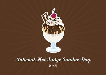 Nationaler Hot Fudge Sundae Day Vektor. Schokoladeneisbecher Vektor. Hot Fudge Eisbecher Vektor. Eisbecher-Vektor-Illustration. Poster zum National Hot Fudge Sundae Day