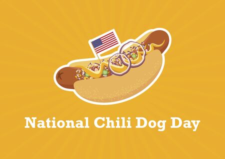 National Chili Dog Day Vector. Chili Dog with garnish vector. Hot Dog with mustard and onion icon. American hotdog sandwich vector. Chili Dog with american flag. National Chili Dog Day Poster. Important day 向量圖像