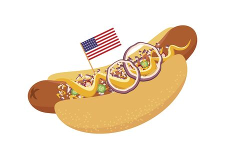 Chili Dog icon vector. Chili Dog with garnish vector. Hot Dog with mustard and onion icon. American hotdog sandwich isolated on white background. Chili Dog with american flag. American delicacy 向量圖像