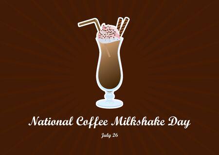 National Coffee Milkshake. Coffee Milkshake vector. Glass of milkshake icon. Chocolate milkshake with cocoa topping whipped cream. National Coffee Milkshake Day Poster, July 26th Important day 向量圖像