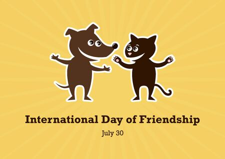 International Day of Friendship Vector. Cat and Dog cartoon character. Friends icon vector. Brown Dog and Cat Vector. International Day of Friendship Poster, July 30  イラスト・ベクター素材