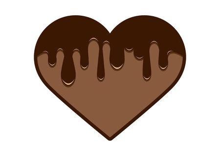Chocolate Heart Vector Icon. Liquid chocolate heart icon. Chocolate Heart Isolated on White Background 向量圖像
