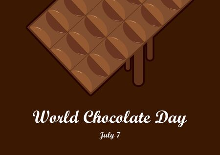 World Chocolate Day vector. Chocolate bar vector. Chocolate on a brown background. World Chocolate Day Poster, July 7