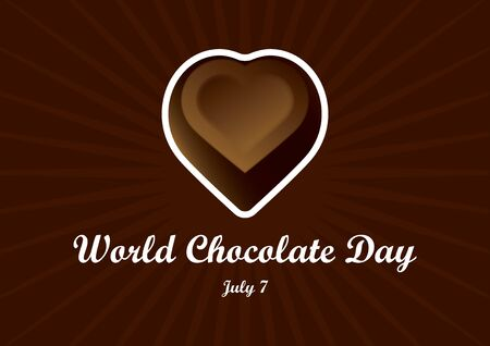 World Chocolate Day vector. Chocolate heart vector. Chocolate heart praline. Chocolate truffle on a brown background. World Chocolate Day Poster, July 7