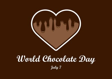 World Chocolate Day vector. Chocolate heart vector. Liquid chocolate heart icon. World Chocolate Day Poster, July 7 向量圖像