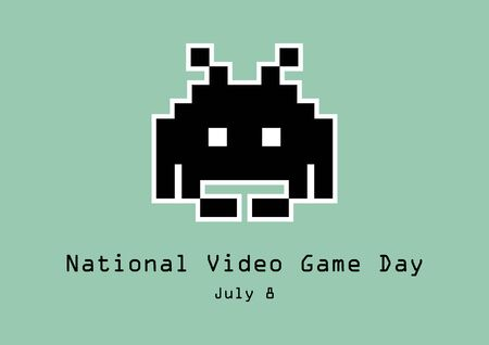 National Video Game Day Vector. Space Invader Vector. Old Pixel Space Invader Game. National Video Game Day Poster, July 8th