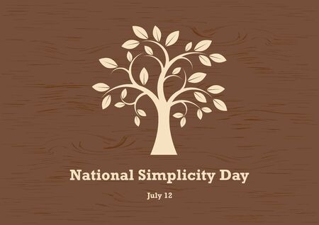 National Simplicity Day vector. A tribute to Henry David Thoreau. Tree silhouette vector. Deciduous Tree Vector. Simple Tree icon vector. National Simplicity Day Poster, July 12th Important day 向量圖像