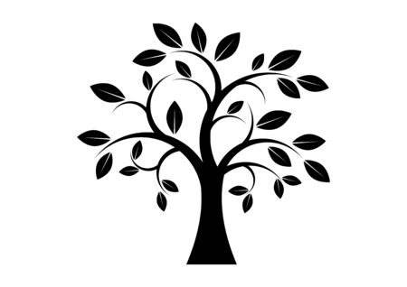 Decor Tree black silhouette clip art. Tree isolated on white background. Tree silhouette vector. Deciduous Tree Vector. Simple Tree icon vector 向量圖像
