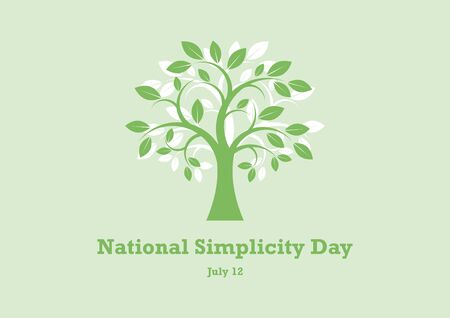 National Simplicity Day vector. A tribute to Henry David Thoreau. Green Tree Silhouette Vector. Deciduous Tree Vector. Simple Tree icon vector. National Simplicity Day Poster, July 12th Important day