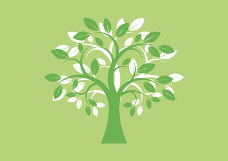 Vector Illustration Keywords: Tree isolated on a green background. Tree silhouette vector. Deciduous Tree Vector. Simple Tree icon vector 向量圖像