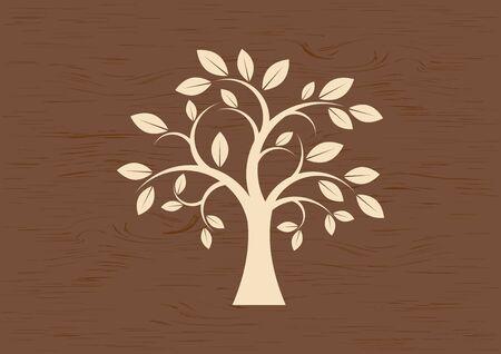 Decorative Tree Silhouette Vector. Tree isolated on a brown background. Tree silhouette vector. Deciduous Tree Vector. Simple Tree icon vector. Wooden background with tree vector