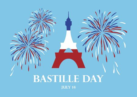 Bastille Day vector. Eiffel Tower with fireworks vector. Eiffel Tower in French Flag Vector. Bastille Day Poster, July 14. French national holiday. Important day 向量圖像