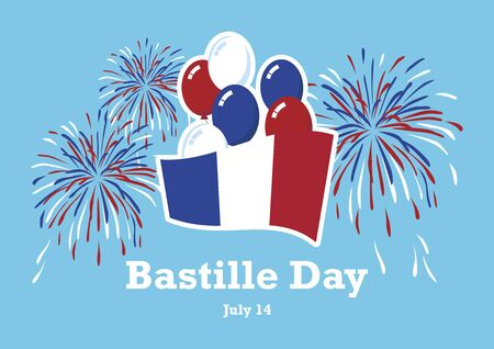 Bastille Day vector. Vector Illustration Keywords: French flag with fireworks vector. Bastille Day Poster, July 14. French national holiday. Important day