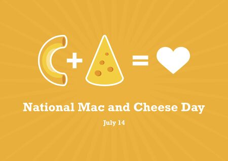 National Mac and Cheese Day vector. Love pasta vector. Macaroni and Cheese vector. Pasta with cheese icon. National Mac and Cheese Day Poster