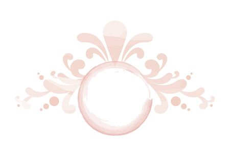 Watercolor Vector Floral Logo. Round watercolor logo isolated on a white background. Delicate feminine logo icon