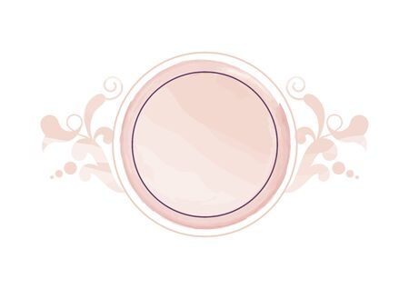 Watercolor Nude Floral Logo. Round watercolor logo isolated on a white background. Delicate feminine logo icon. Vector round logo 向量圖像