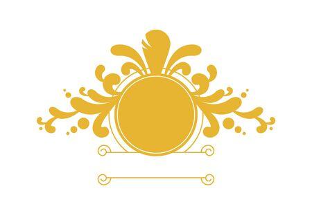 Round golden floral logo vector. Golden floral logo isolated on white background. Delicate feminine logo icon. Luxury yellow round vector logo 向量圖像