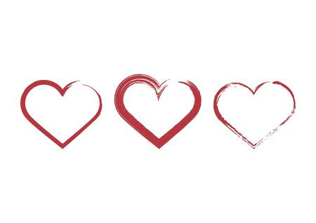 Painted Heart Shape Icon Vector. Vector Illustration Keywords: Red heart isolated on white background. Hearts icon set. Painted heart vector collection Ilustração