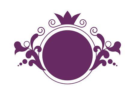 Purple floral logo vector. Purple floral logo isolated on white background. Delicate feminine logo icon. Romantic round logo vector